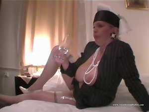 Slutty girl Drink Champagne In Glamour Outfit