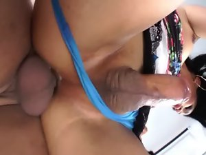 Graceful asian ladyboy shemale drilled wild by randy dude
