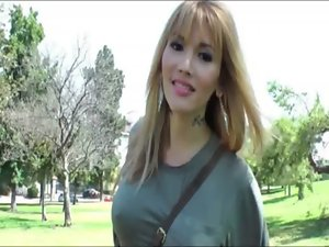 Perfect ladyboy Eva Lin picked up in public and puts up a shaft jerking show