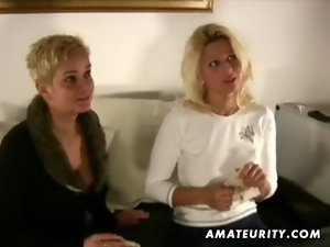 2 chesty amateur Mommy share one phallus with cumshot