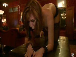 Filthy girlie bound and bum banged