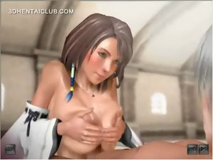 Anime doll blowing and tit shagging phallus gets jizzed