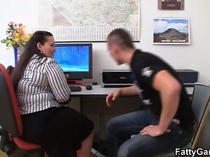 Heavy and client have sex in office