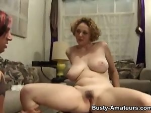 Buxom Samantha vagina fondled and stroking shaft