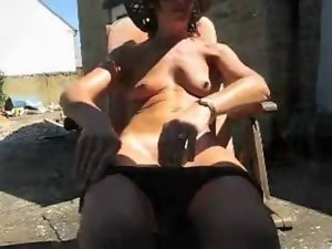Dirty wife masturbates in the backyard by WF