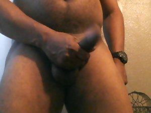black male in a diaper jerking off