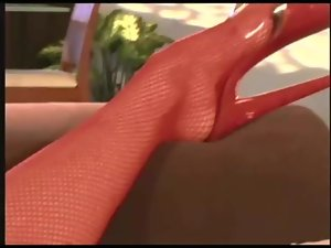 Jayna banging in red fishnet stockings and heels
