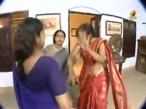 Telugu Aunty Navel Slips in TV Serial