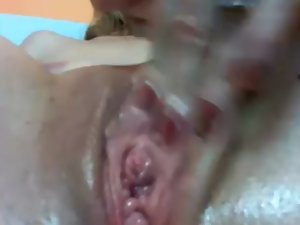 Mummy Rubbing Her Raw Cunt Close Up