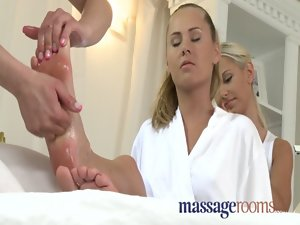 Massage Rooms Bawdy lesbo triplet after sensuous oil massage