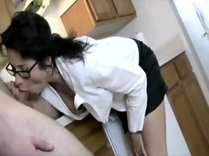 Raunchy attractive mature secretary keeps her glasses on