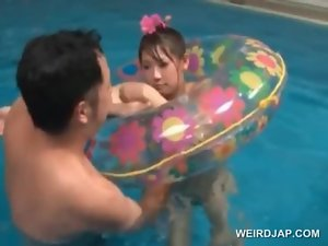 Asian sex doll mouth and snatch banged in pool