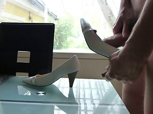 Cum in wifes silver and white high heel shoe