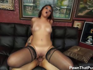 Lingerie stockings actress Maggie banging in my Pawn shop
