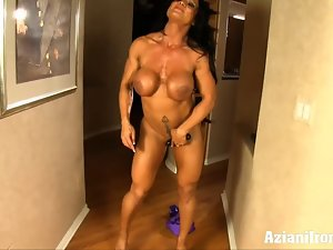 Sensual muscle slutty girl rhonda flexes more than just her muscles