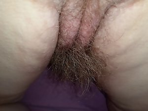 dirty wife perfect very hairy pussy, asshole, asscrack & 8'' long pube