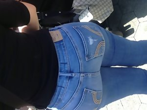 Big naughty butt Mexican Mum in blue jeans