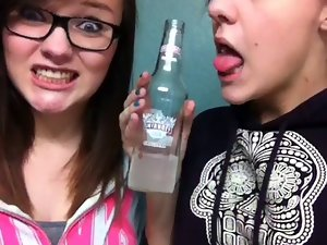 Funny whorish college tongue flick on bottle