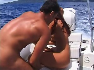 crazy threesome action on a boat