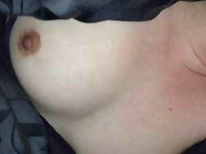 Dirty wife Facial and Cum on Knockers
