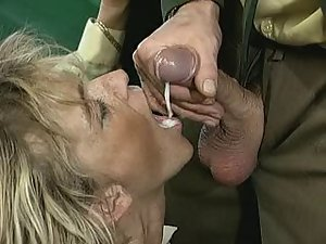 Attractive mature bitch swallows every drop of cum