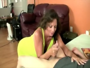 Mum is randy to tug and get nude for her stud