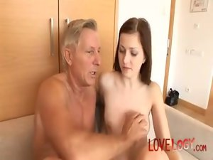Happy aged man scores Abigaile Johnson, Vaginal Sex Masturbation Oral Sex Butthole Sex Dark haired Caucasian