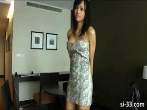 Great ladyboy Aor pops out her mega tits and fleshy dick then masturbates