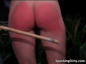 Lewd dark haired bitch gets spanked brutal