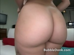 Huge butt cutie fingers her bum and makes it bounce before dick sucking