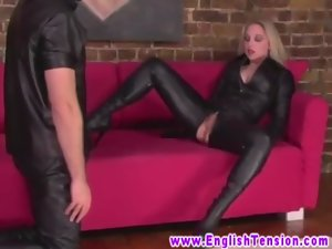 FEMDOM BDSM Cougar queens masked sub and licks him