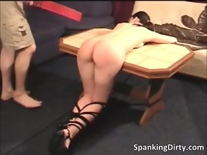 Filthy dark haired slutty girl gets spanked rough