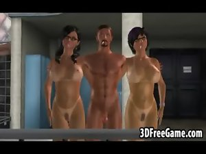 A pair of filthy 3D big tit randy chicks are riding a big stiff pecker