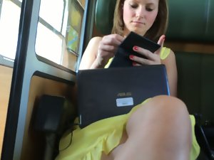 Attractive Upskirt on the train Part 1
