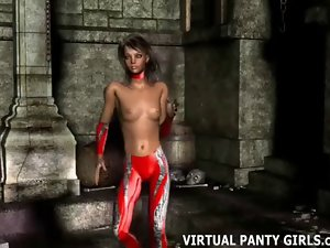 3d animated cybergirl dancing topless