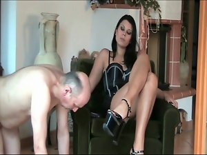 Tall Lovely Mistress humiliate her slaves