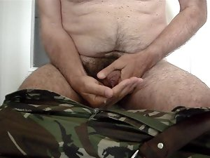 My masturbation in English Army camouflage trousers