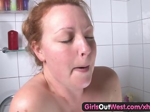 Chesty curvy amateur touching her hirsute vagina