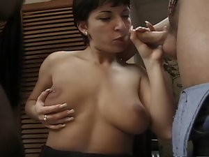 Short black hair Hungarian Claudia double-teamed