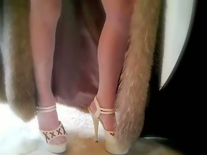 Fetish Smoking in Stockings Garter Belt high Heels & furs