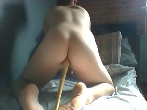 bum with a mini baseball bat and a chisel handle