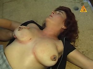 Heavy pierced Mum slave with lots quim rings dominated