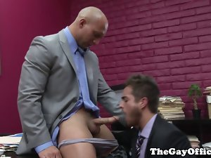 Muscular office hunk screwed by his boss