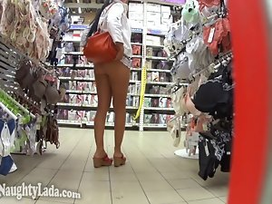 Flashing in the car and supermarket
