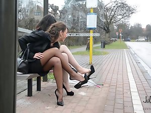 2 lez vixens busstop 14cm high heels upskirt & stockings