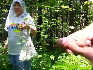 nice grandmother in the forest