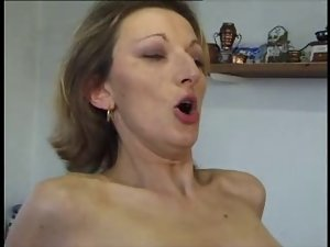 French Mommy rectal in stockings and heels.