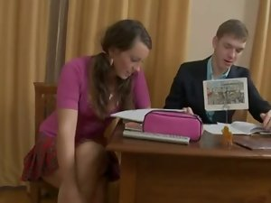 Slutty russian Home teacher gives extra lessons