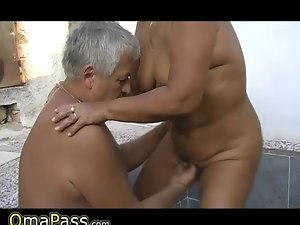 Grandpa and chap banging fatty grandma outdoors