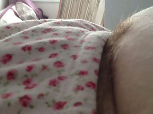 wifes fatty soft belly & soft shaggy snatch in jammies